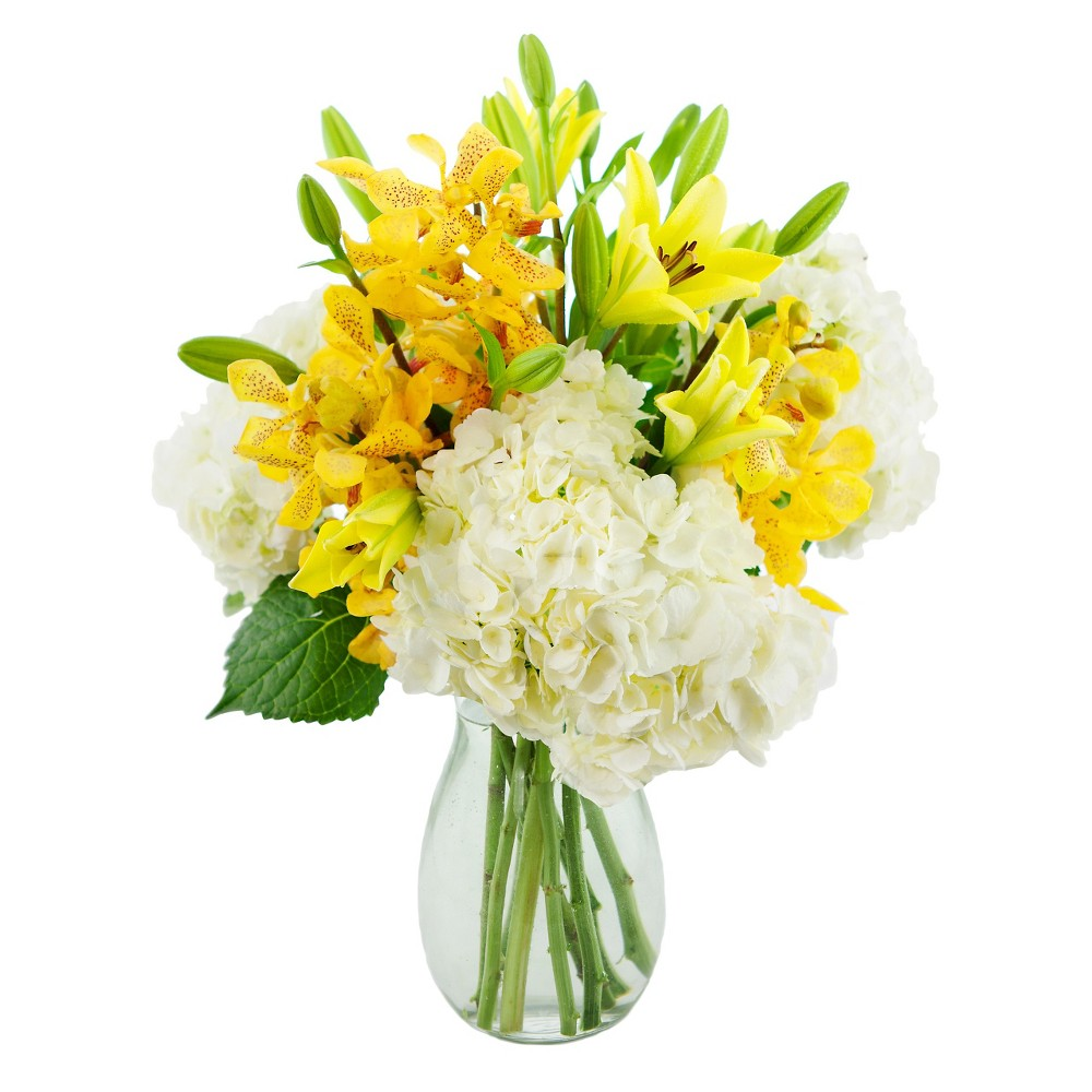 KaBloom Mellow Yellow Lilies and Orchids Fresh Flower Arrangement - with Vase