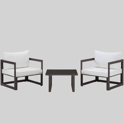 Fortuna 3pc Outdoor Patio Sectional Sofa Set Brown/White - Modway