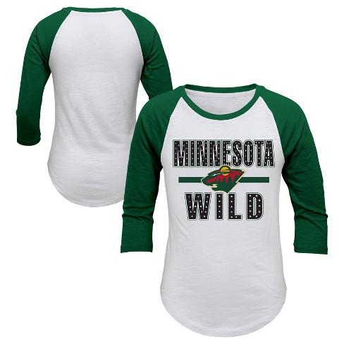 NHL Minnesota Wild Girl's Hot Shot White/ 3/4 Sleeve T-Shirt - image 1 of 3
