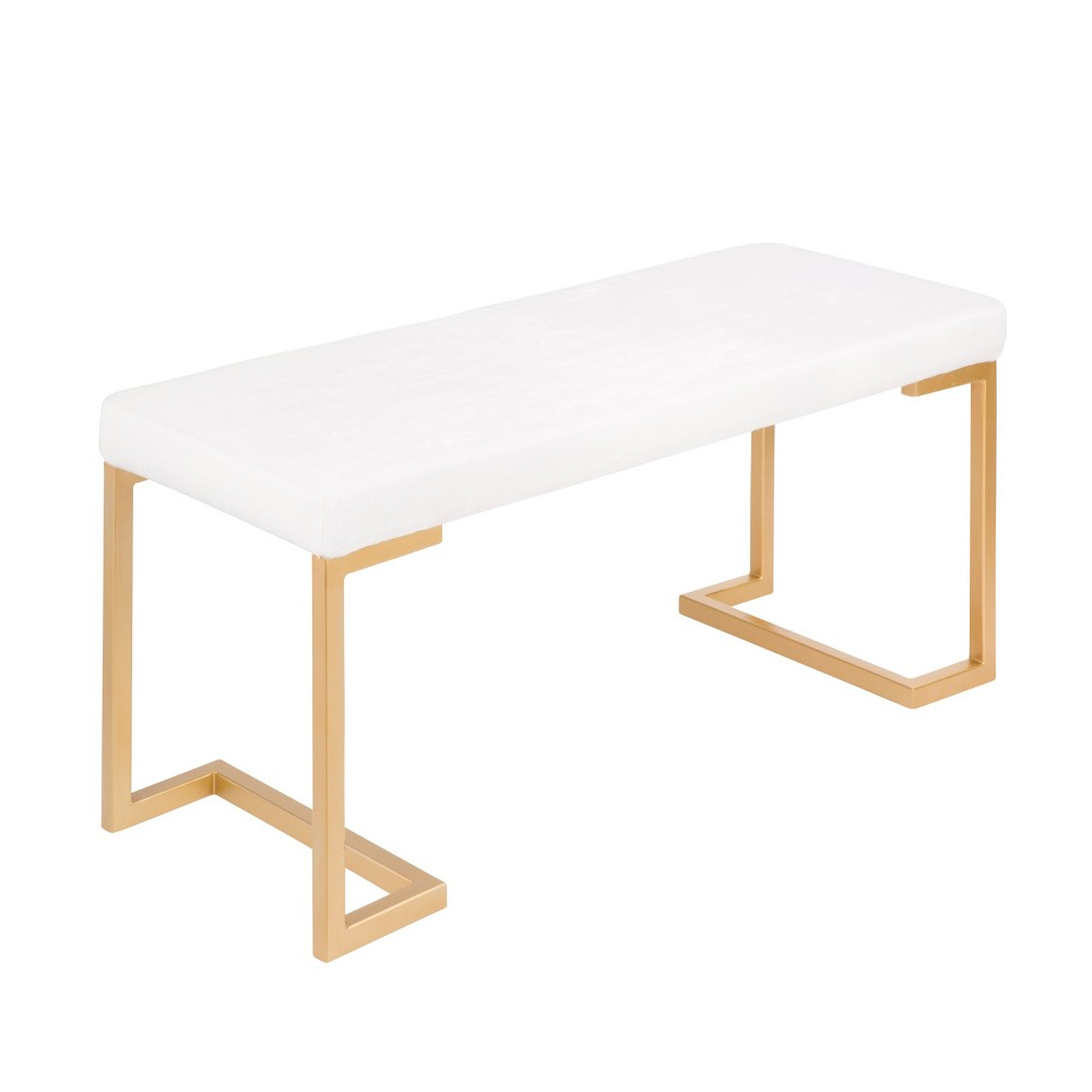 Midas Contemporary Entryway Dining Bench Gold with White Velvet Cushion - Lumisource