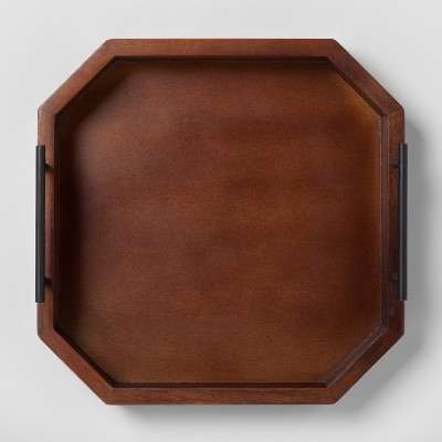 Wood Tray with Metal Handles Small - Walnut - Project 62™