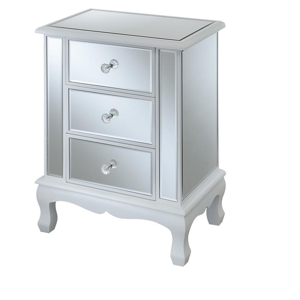 Gold Coast Vineyard 3 Drawer Mirrored End Table - White - Johar Furniture
