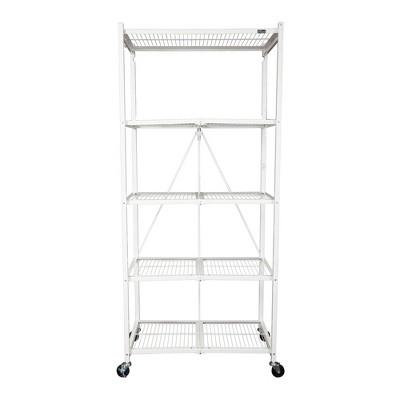 """Origami Large Wheeled 5-Shelf Folding Steel Wire Shelving, White (21""""x36""""x78"""")"""