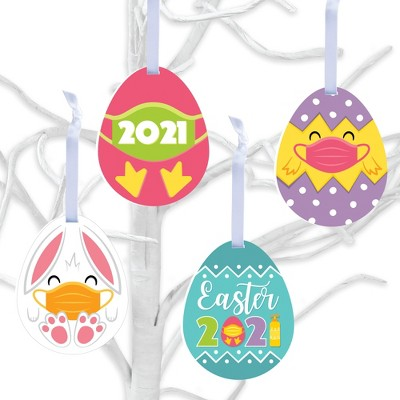 Big Dot of Happiness Quarantine Easter - 2021 Egg and Bunny Decorations - Tree Ornaments - Set of 12