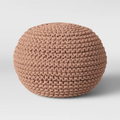 Cloverly Chunky Knit Pouf Blush/Beige - Threshold™