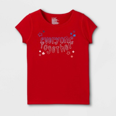 Girls' Adaptive 4th of July Short Sleeve Graphic T-Shirt - Cat & Jack™ Red