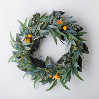 "26"" Artificial Citrus and Eucalyptus Wreath Green - Threshold™ designed with Studio McGee"