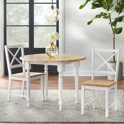 3 Piece Virginia Dining Set Wood/White - TMS