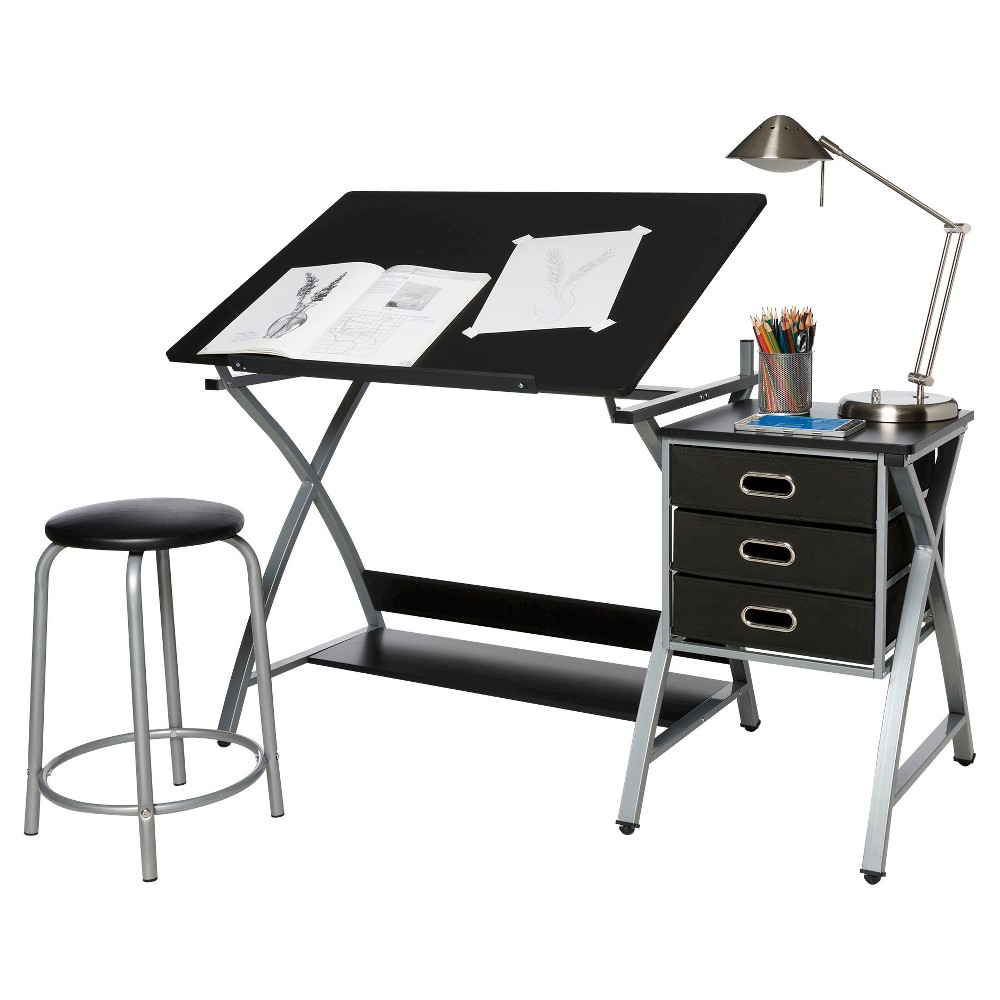 OneSpace 50-CS03 Craft Station with Stool in Black and Silver