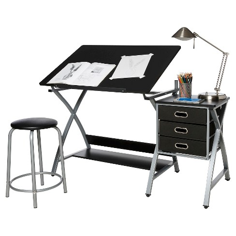 OneSpace 50-CS03 Craft Station with Stool in Black and Silver - image 1 of 8