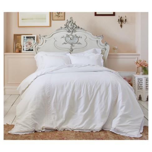 . White Crochet Trim Linen Blend Comforter Set  Full Queen  3 pc   Simply  Shabby Chic