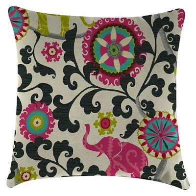Outdoor Throw Pillow Set Jordan Manufacturing Multi-colored Bright Pink Yellow Green Black