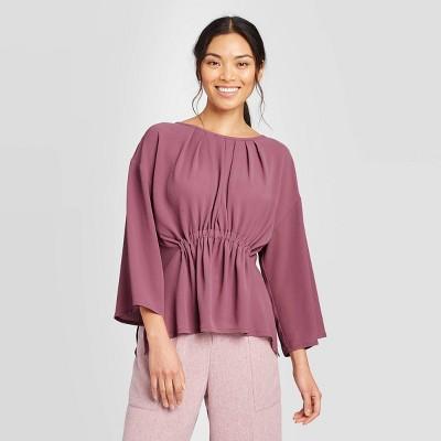 Women's Dolman Long Sleeve Crewneck Blouse - Prologue™ Purple