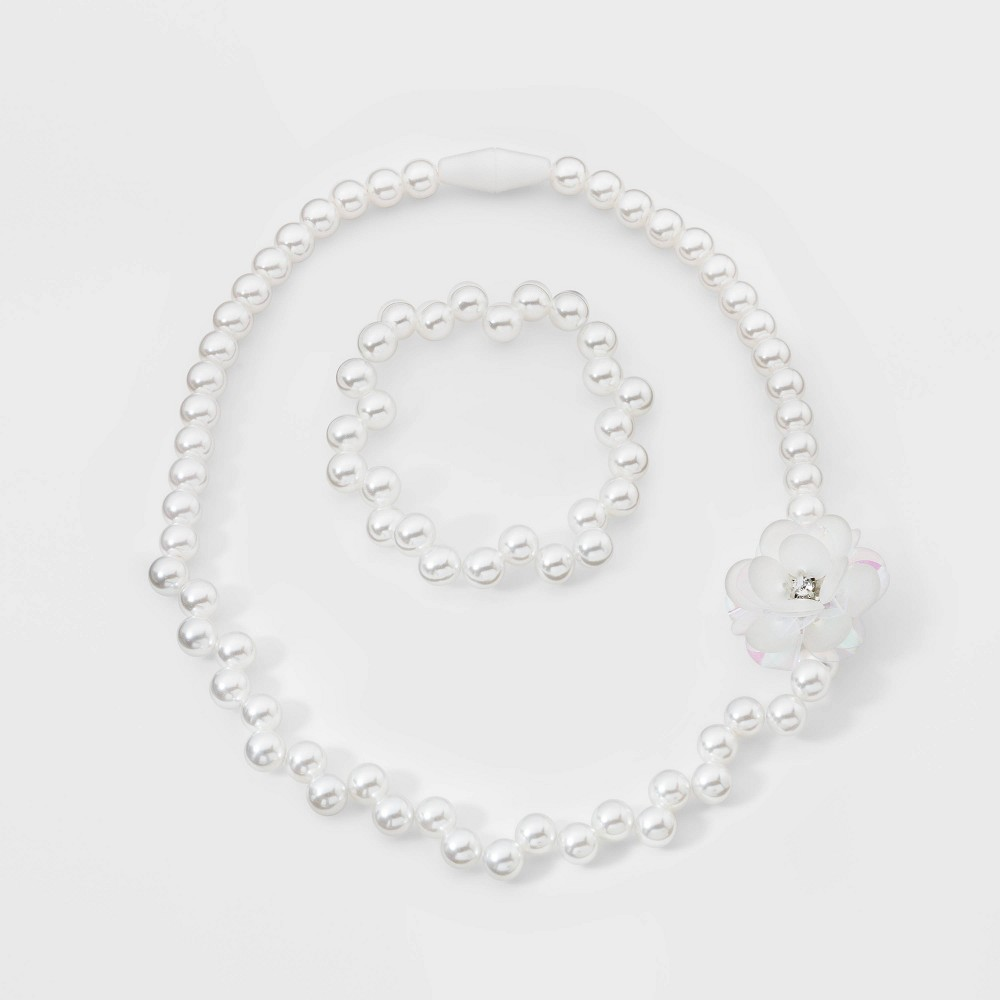 Image of Toddler Girls' Pearl Bead Necklace and Bracelet Set - Cat & Jack , Women's, White