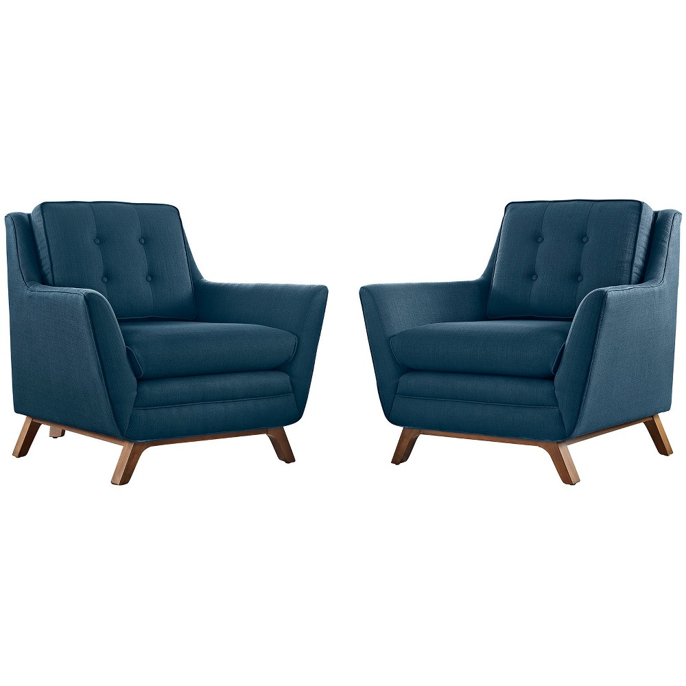 Image of 2pc Beguile Upholstered Fabric Living Room Set Azure - Modway