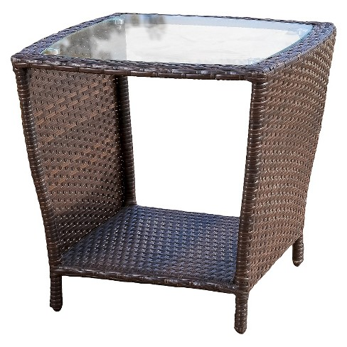 Weston Wicker with Glass Top Patio Side Table - Multi-Brown - Christopher Knight Home - image 1 of 4