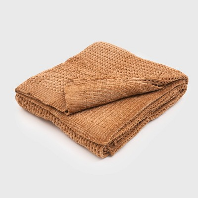"50""x60"" Shiny Waffle Chenille Knit Throw Blanket - Evergrace"