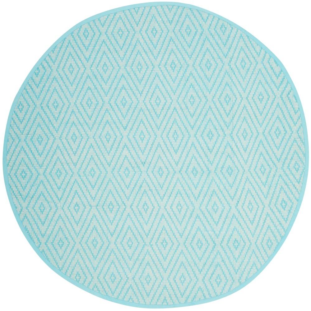 Turquoise/Ivory Diamond Flatweave Woven Round Area Rug 6' - Safavieh