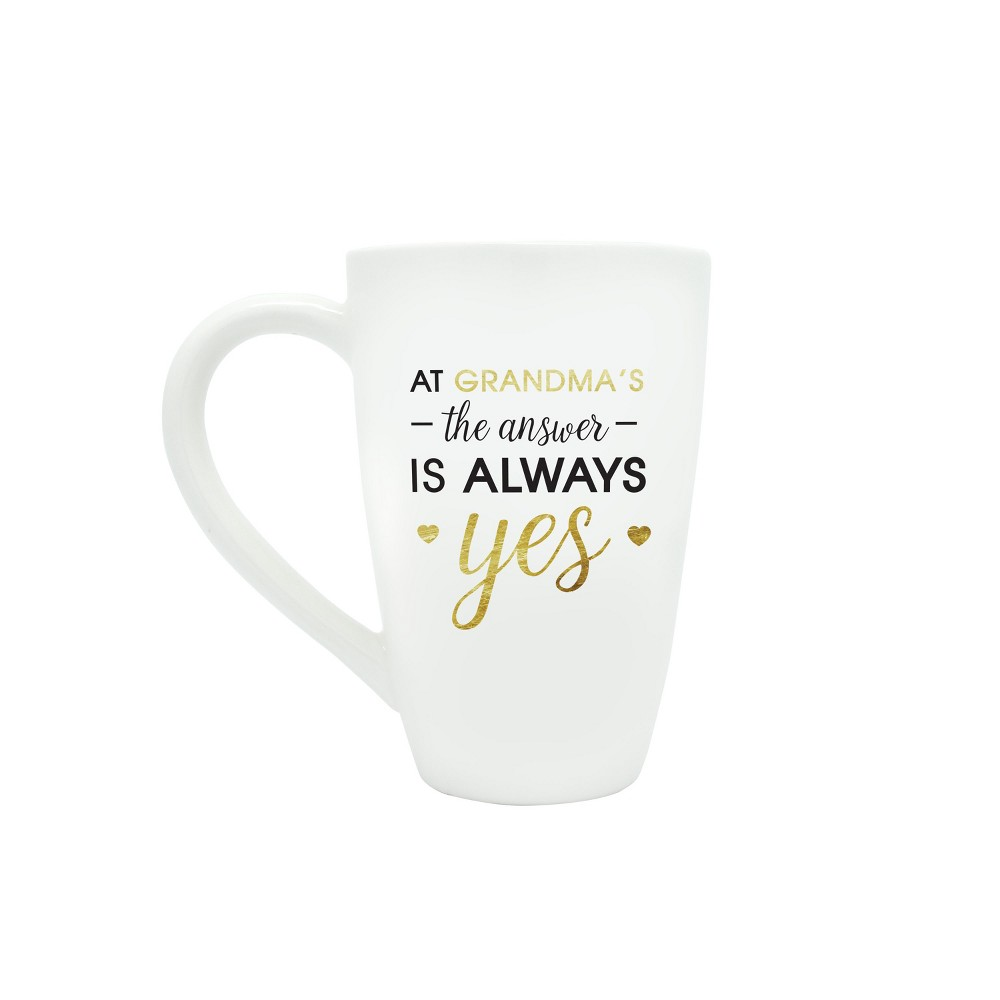 "Image of ""Pearhead 22oz Ceramic Mug - """"At Grandma's The Answer is Always Yes"""", White"""