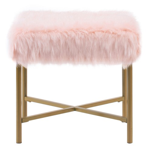 Miraculous Faux Fur Square Ottoman Pink Homepop Machost Co Dining Chair Design Ideas Machostcouk