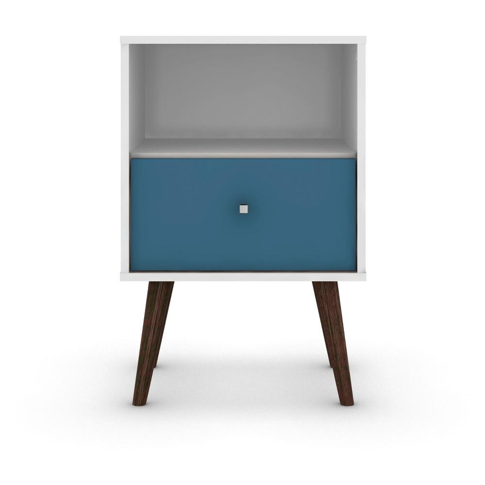 Liberty 1.0 Mid Century Modern Nightstand White/Aqua Blue - Manhattan Comfort