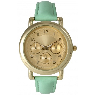 Olivia Pratt Bold Case Gold Accented Leather Strap Watch