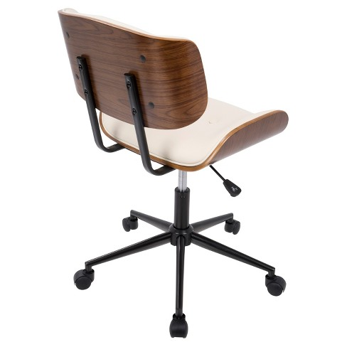 Lombardi Mid Century Modern Office Chair With Swivel Walnut And Cream Lumisource