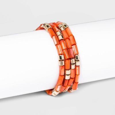 Shell Beaded Stretch Bracelet Set 4Pc - A New Day™