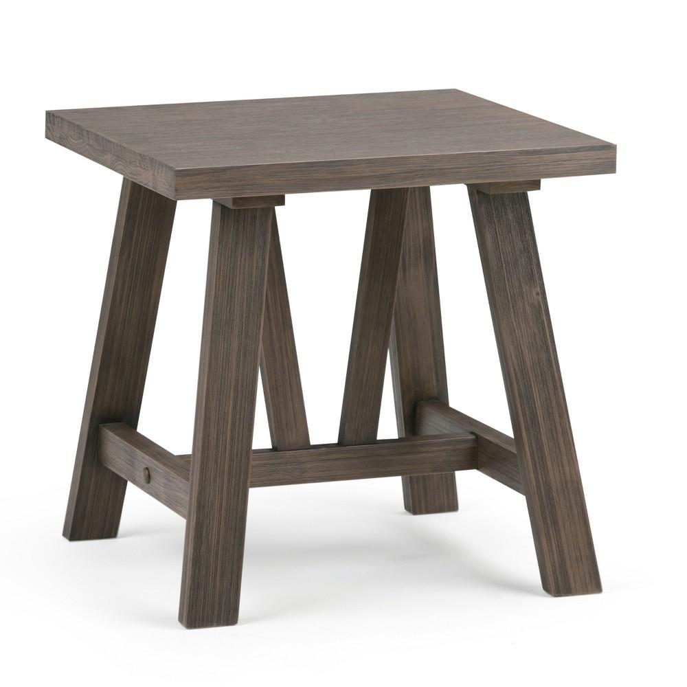 Stewart Solid Wood End Table Driftwood - Wyndenhall, Brown