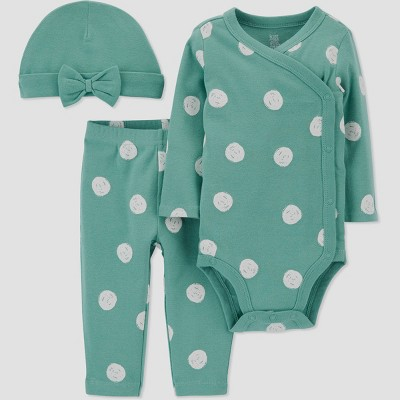 Baby Girls' 3pc Polka Dot Top and Bottom Set with Hat - Just One You® made by carter's Green/White 3M