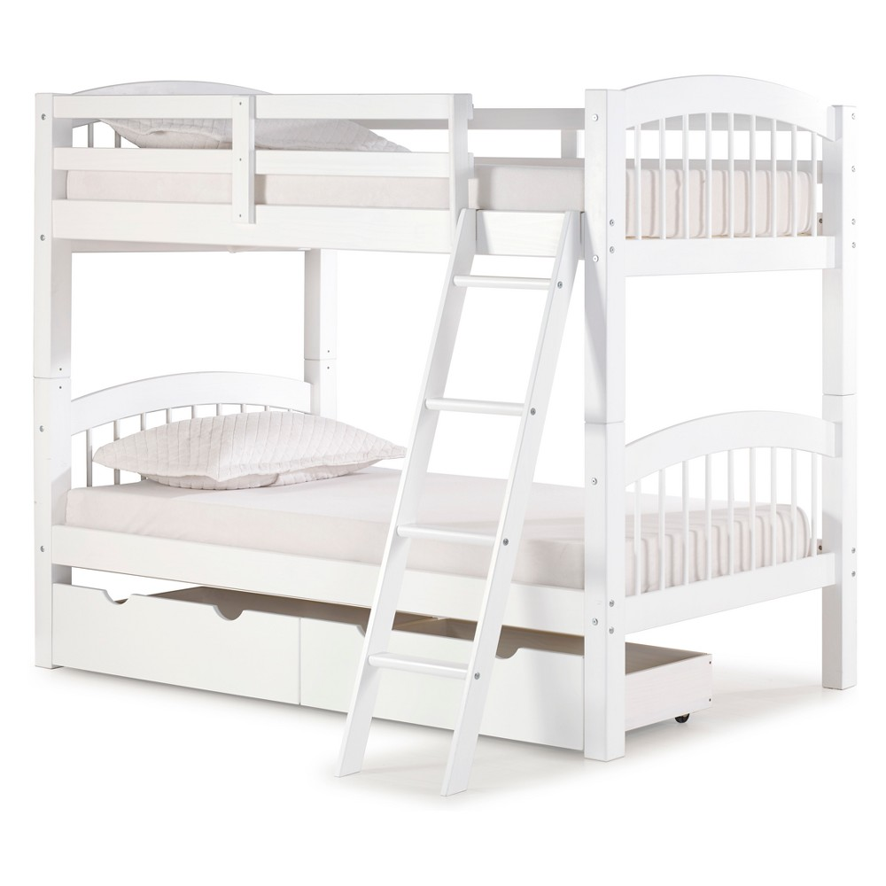 Spindle Twin Over Twin Bunk Bed With Storage Drawers White - Bolton Furniture