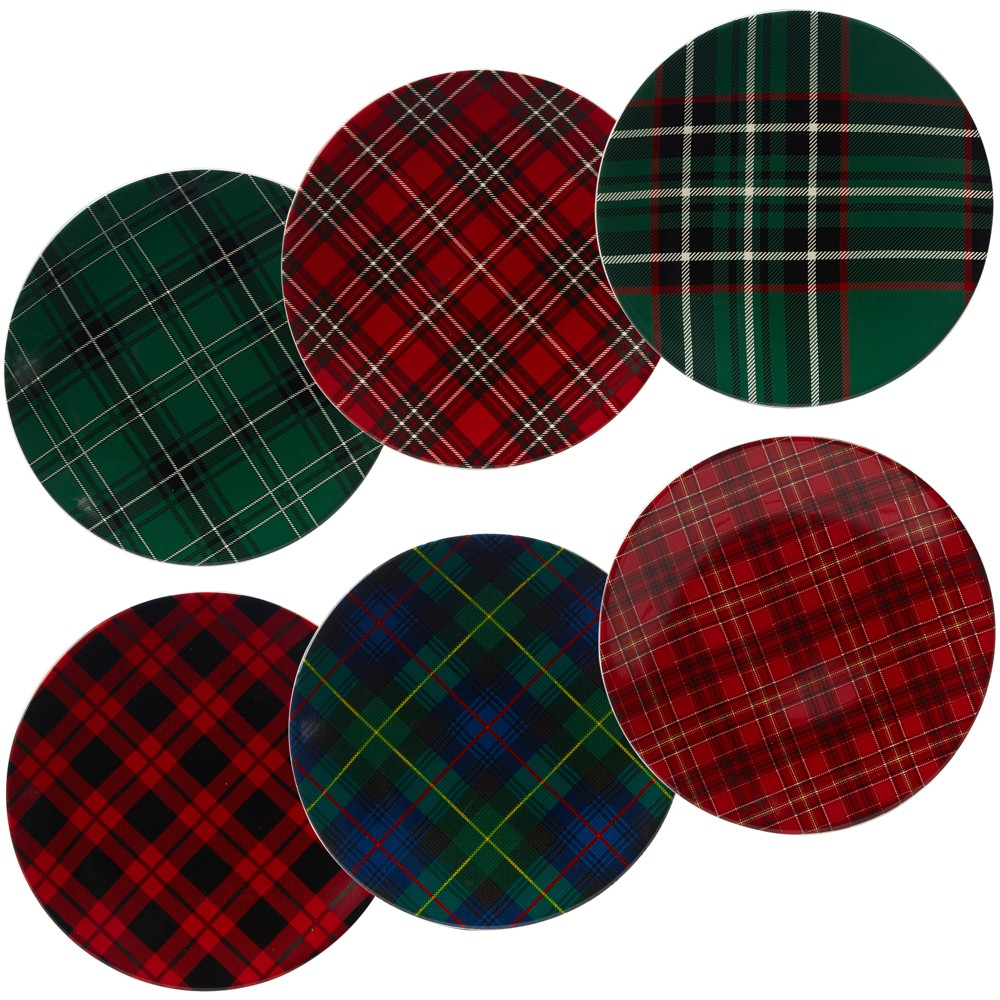 "Image of ""10.75"""" 6pk Christmas Plaid Assorted Dinner Plates - Certified International, Red Green"""