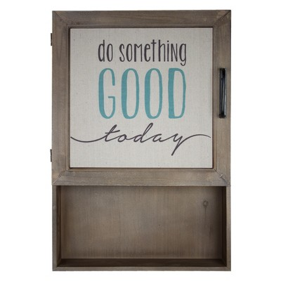 "15"" x 23"" Do Something Good Today Wood Wall Cabinet with Shelves Brown - American Art Decor"