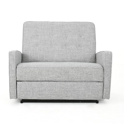 Calliope Buttoned Fabric Reclining Loveseat Light Gray Tweed - Christopher Knight Home