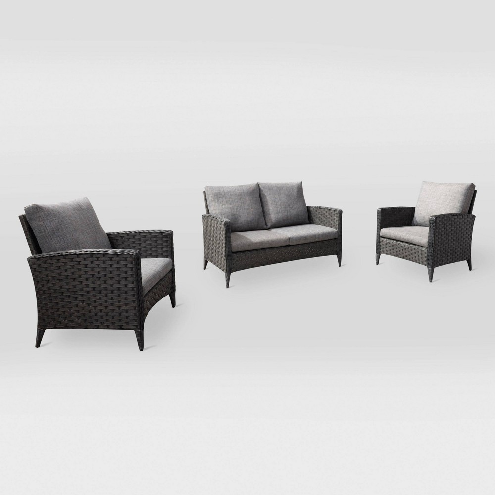 Parkview 3pc Loveseat Chair Patio Set - Gray - CorLiving