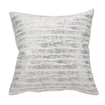 """20""""x20"""" Down Filled Foil Print Faux Fur Throw Pillow - Saro Lifestyle"""