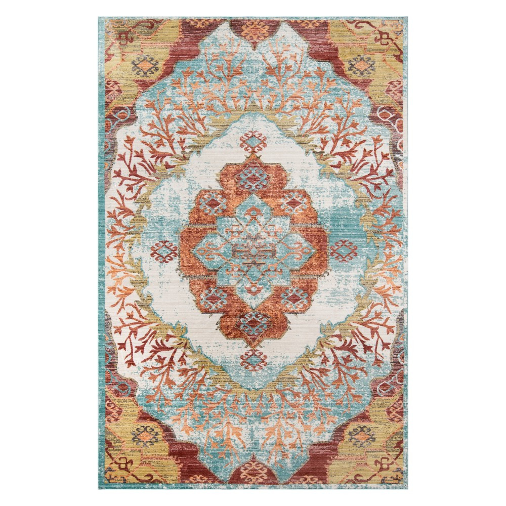8'X10' Medallion Loomed Area Rug Ivory - Momeni