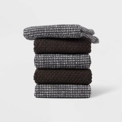5pk Cotton Dishcloths Black - Threshold™