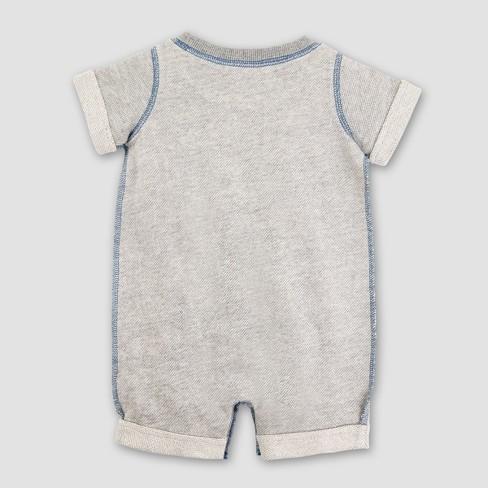 04df126747a Burt s Bees Baby Boys  Organic Cotton Loose Pique Roll Cuff Shortall -  Heather Gray