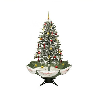 Northlight 5.5' Prelit Artificial Christmas Tree LED Medium Musical Snowing With Umbrella Base - Blue Lights