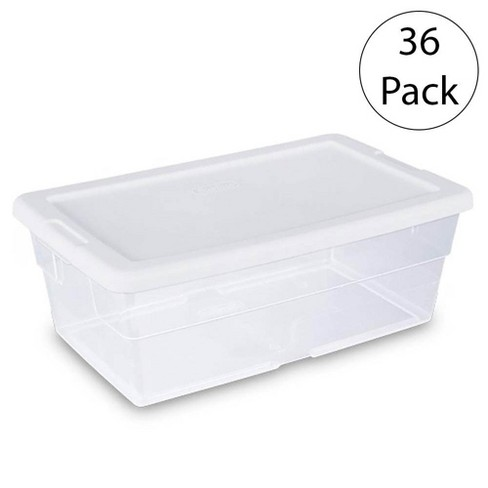Sterilite 6 Quart Clear Closet Storage Tote Container with White Lid, 36 Pack - image 1 of 4