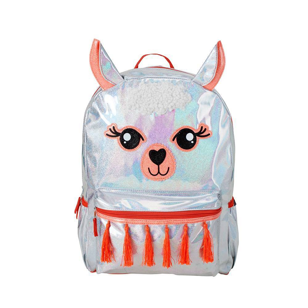 """Image of """"Accessory Innovations 17"""""""" Llamazing Kids' Backpack - Iridescent/Red, Girl's, Size: Large, Silver"""""""
