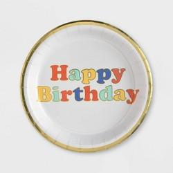"8.5"" 10ct Retro Confetti ""Happy Birthday"" Dinner Plate - Spritz™"