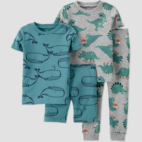 Toddler Boys' 4pc Whale Dino Printed Snug Fit Pajama Set - Just One You® made by carter's - image 1 of 3
