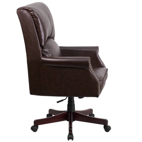 High Back Pillow Brown Leather Executive Swivel Office Chair Flash Furniture Target
