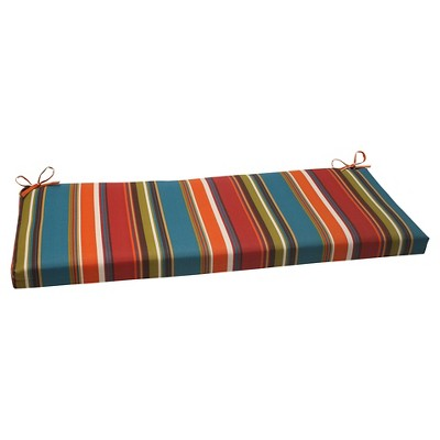Outdoor Bench Cushion - Brown/Red/Teal Stripe