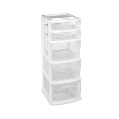 Homz 5-Drawer Medium Storage Tower - White
