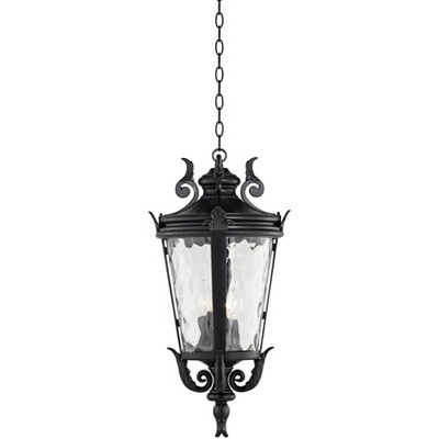 """John Timberland Traditional Outdoor Ceiling Light Hanging Black Scroll 26 1/4"""" Clear Water Glass Damp Rated for Porch Entryway"""