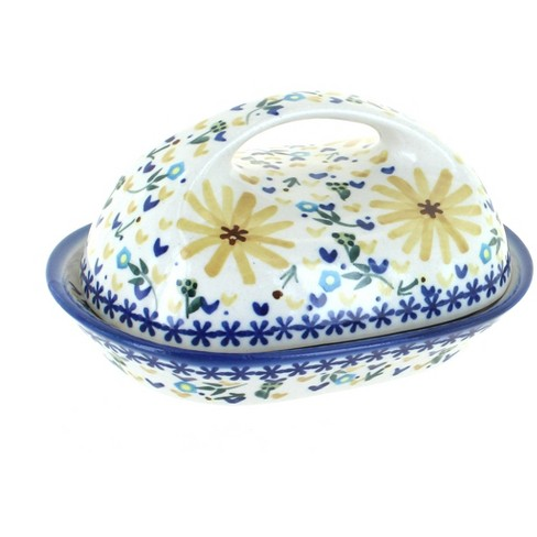 Blue Rose Polish Pottery Yellow Daisy Butter Dish - image 1 of 1