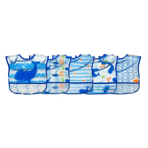Wipe-off Bibs (5pk)-Blue Whale - 9/18mo - image 1 of 6